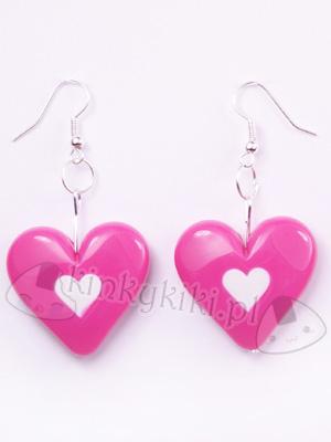 kolczyki serca różowe