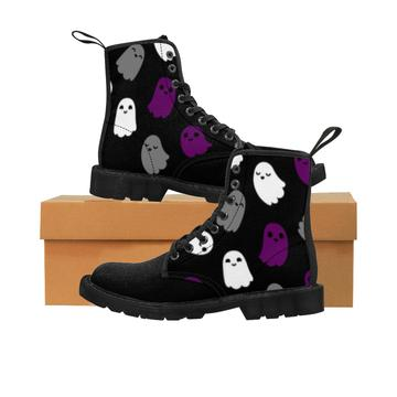 Asexual Pride Ghosts Boots Women's Martin Boots