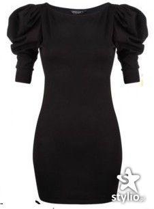 Czarna sukienka z bufiastymi rękawami