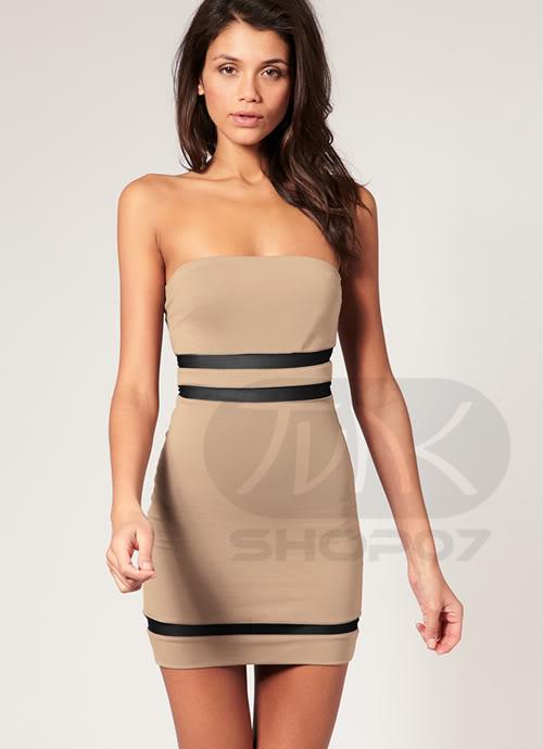 Brązowa obcisła sukienka
