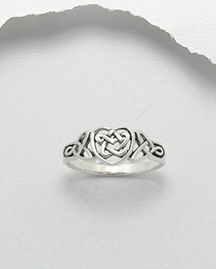 Celtic Knot Heart Triquetra Trinity Endless Band Ring