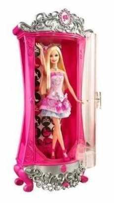 Magiczna szafa brokatująca Barbie, zestaw z lalką