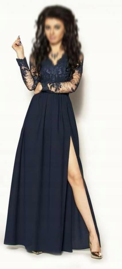 Długa granatowa sukienka wieczorowa z rękawem M