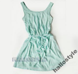 ATMOSPHERE MIĘTOWA pastele MINI sukienka szyfon 38