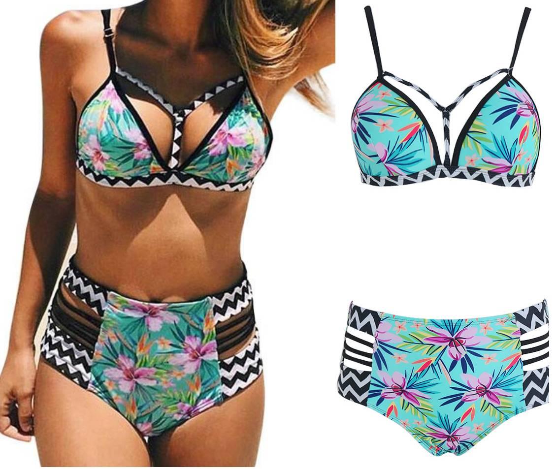 Wysoki Stan Bikini Strój Kąpielowy Boho Push Up/M