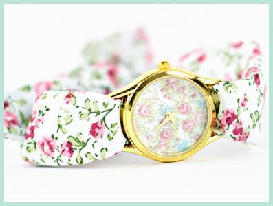W07 Zegarek KWIATKI florals róże Japan Style