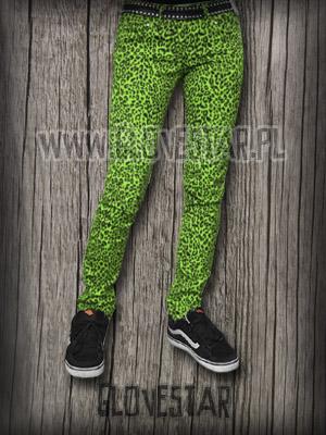 spodnie zielone w panterkę