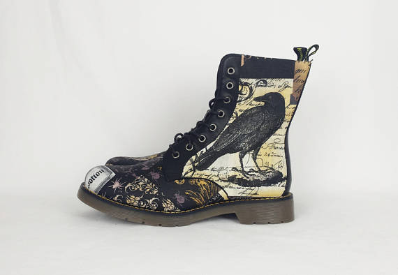Crow shoes, raven print shoes,