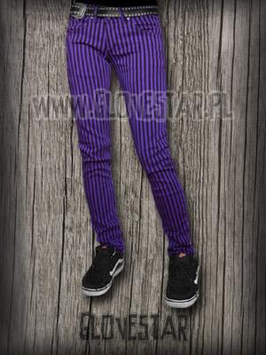 spodnie w paski fioletowe | GLOVESTAR punk rock sklep skelanimals emo ciuchy hello kitty scene ubrania piercing shop