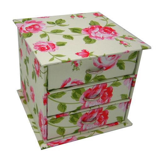 Pudełko 3 Szuflady Kremowe