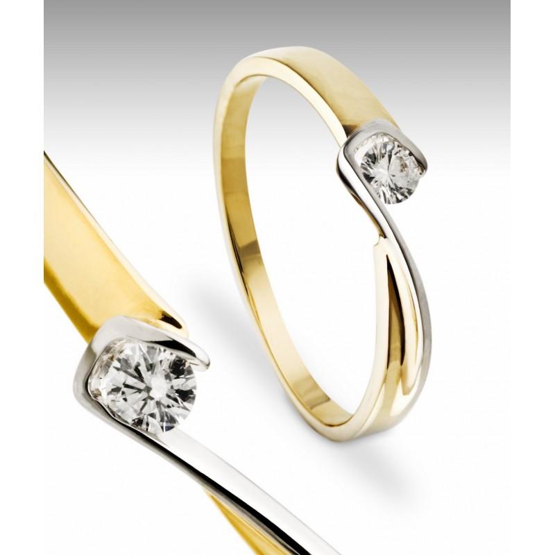Pierścionek z żółtego i białego złota Impressimo