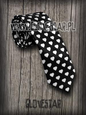 krawat w serduszka black