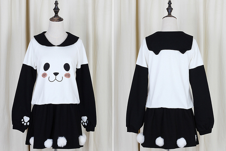 Cute bear sweatshirt sweater skirt suit