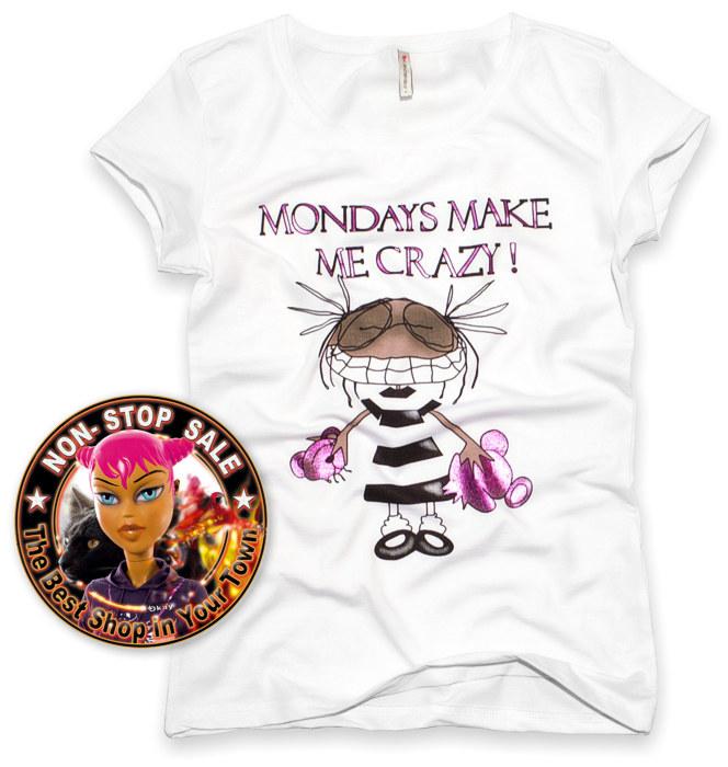 Nowy T-Shirt FISHBONE Mondays make me CRAZY emo L (716326113) - Aukcje internetowe Allegro