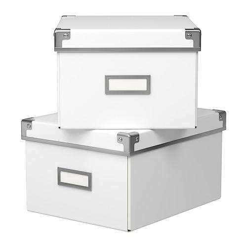 KASSETT Pudełko z pokrywką, biały