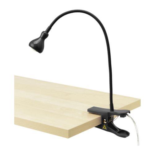 JANSJÖ Reflektor z klamrą LED, czarny