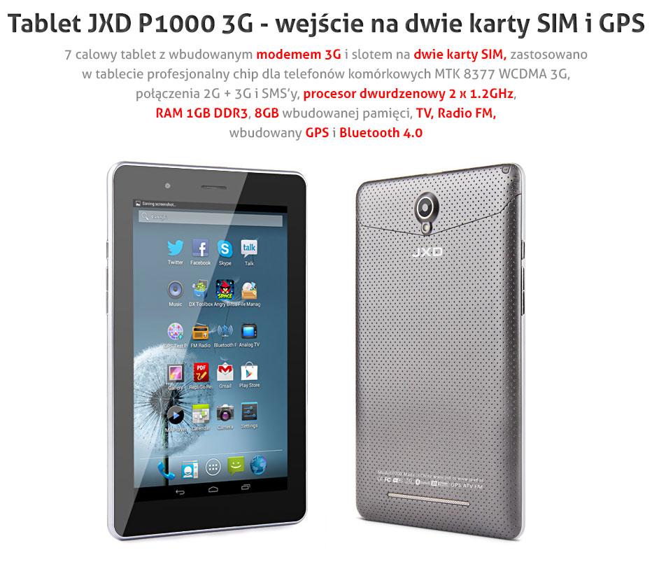 Tablet JXD P1000 z 3G.