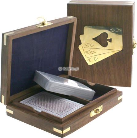 Karty do gry w drewnianym pudełku