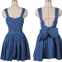Cute High Waist denim bow strap dress