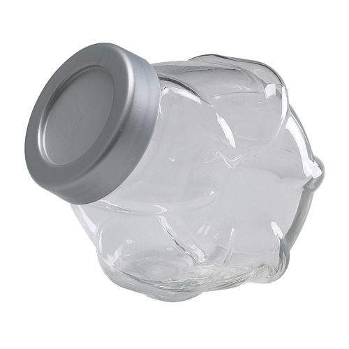 FÖRVAR Słoik z pokrywką, szkło, srebrny