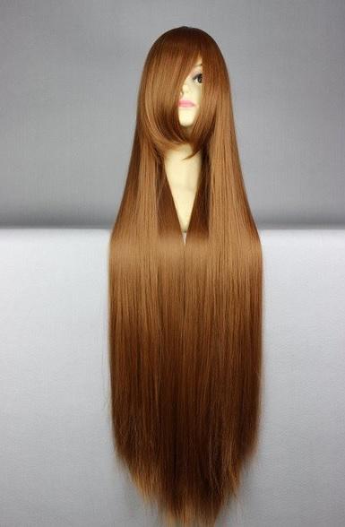 Długa, brązowa peruka