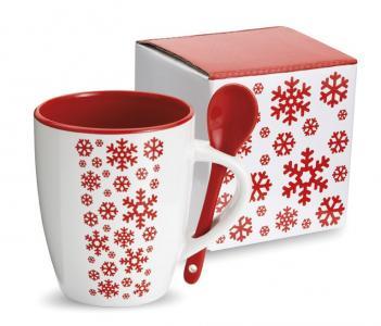 Ceramiczny kubek z łyżeczką z motywem świątecznym!