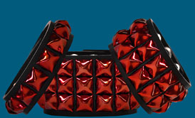 Multi-Row Red Pyramid Studded Wristbands