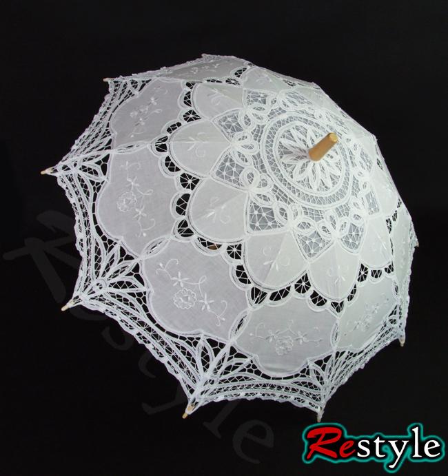 Biała haftowana parasolka