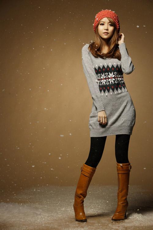 Szary sweterek tunika