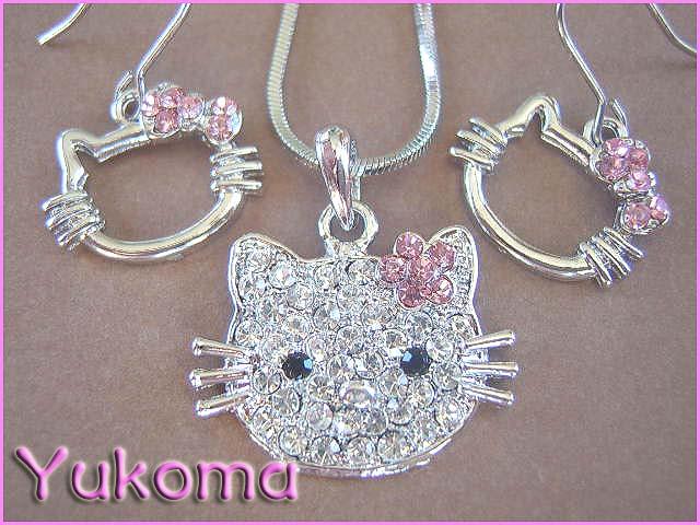 komplet Hello Kitty różowe cyrkonie