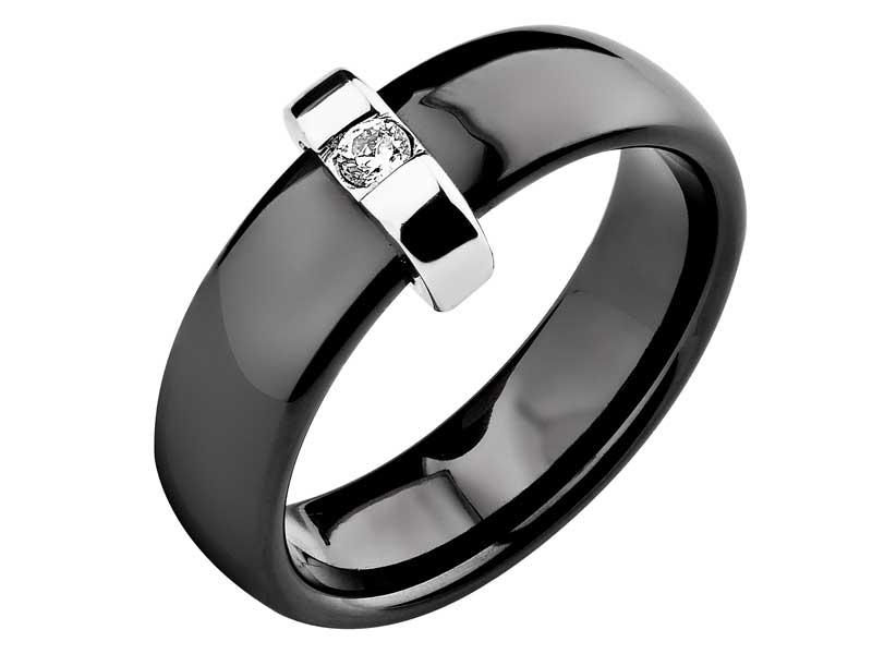 Pierścionek srebrny z ceramiką i cyrkonią Apart