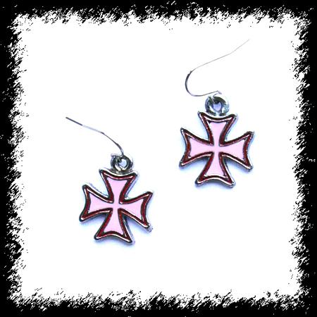 Kolczyki Pink cross