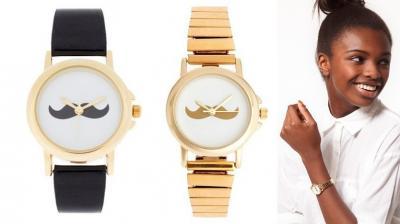 Zegarek Wąsy Mustache Złoty i Czarny Przeuroczy