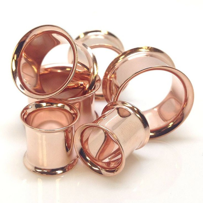 Stainless steel anodized rose gold tunnels