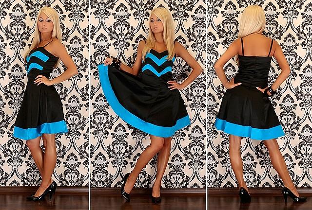 Świetna dwukolorowa sukienka - elegancka i modna
