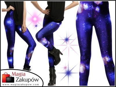 LEGGINSY spodnie GALAXY rurki getry kosmos leginsy
