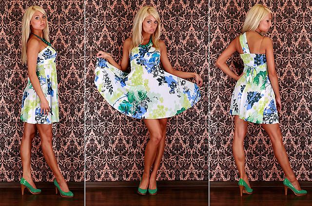 Śliczna letnia sukienka w kwiaty 2 kolory