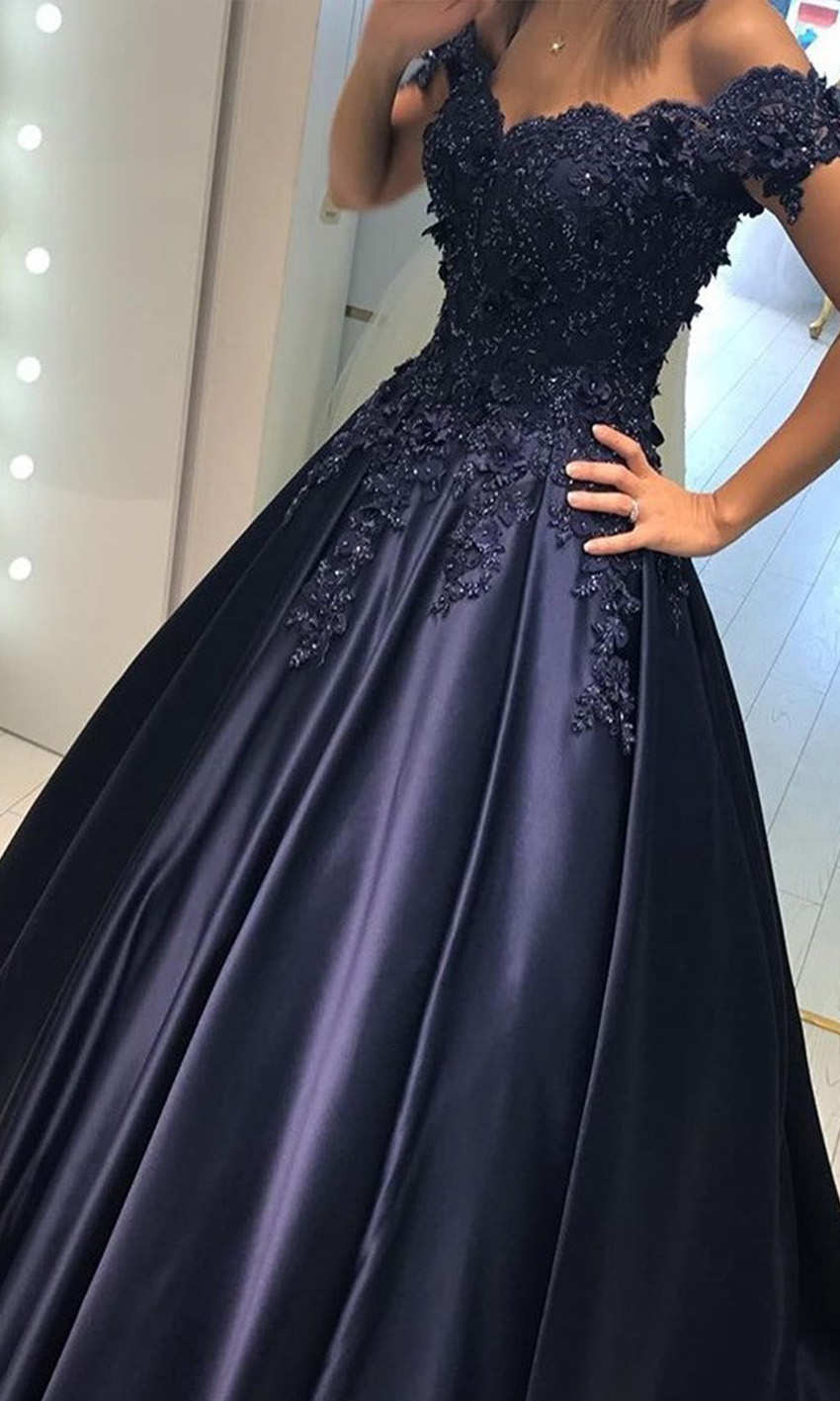 Cold Shoulder Long Applique Lace Corset Ball Gowns KSP530