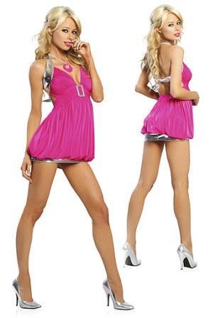 Różowo - srebrna sukienka