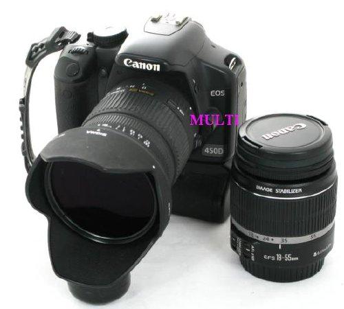 Lustrzanka Canon EOS 450D z akcesoriami.
