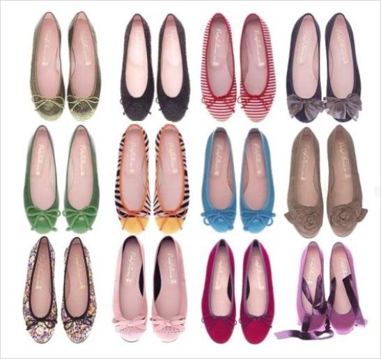 Różnokolorowa kolekcja balerinek