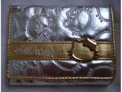 portfel z hello kitty srebrny ze złotym paskiem