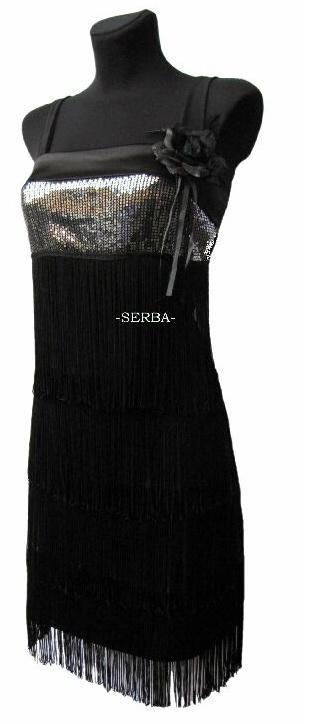 Sukienka cekiny-frędzle