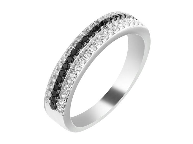 Srebrny pierścionek z cyrkoniami i spinelem syntetycznym Apart