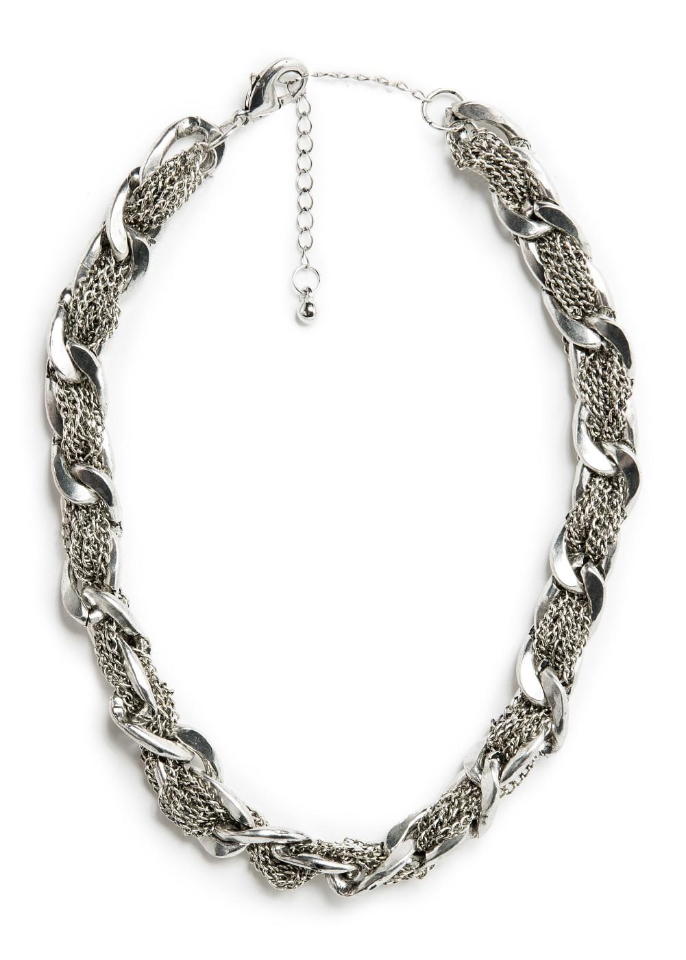 Naszyjnik - krótki, plecione łańcuszki z Mango