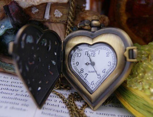 Naszyjnik serce-zegarek