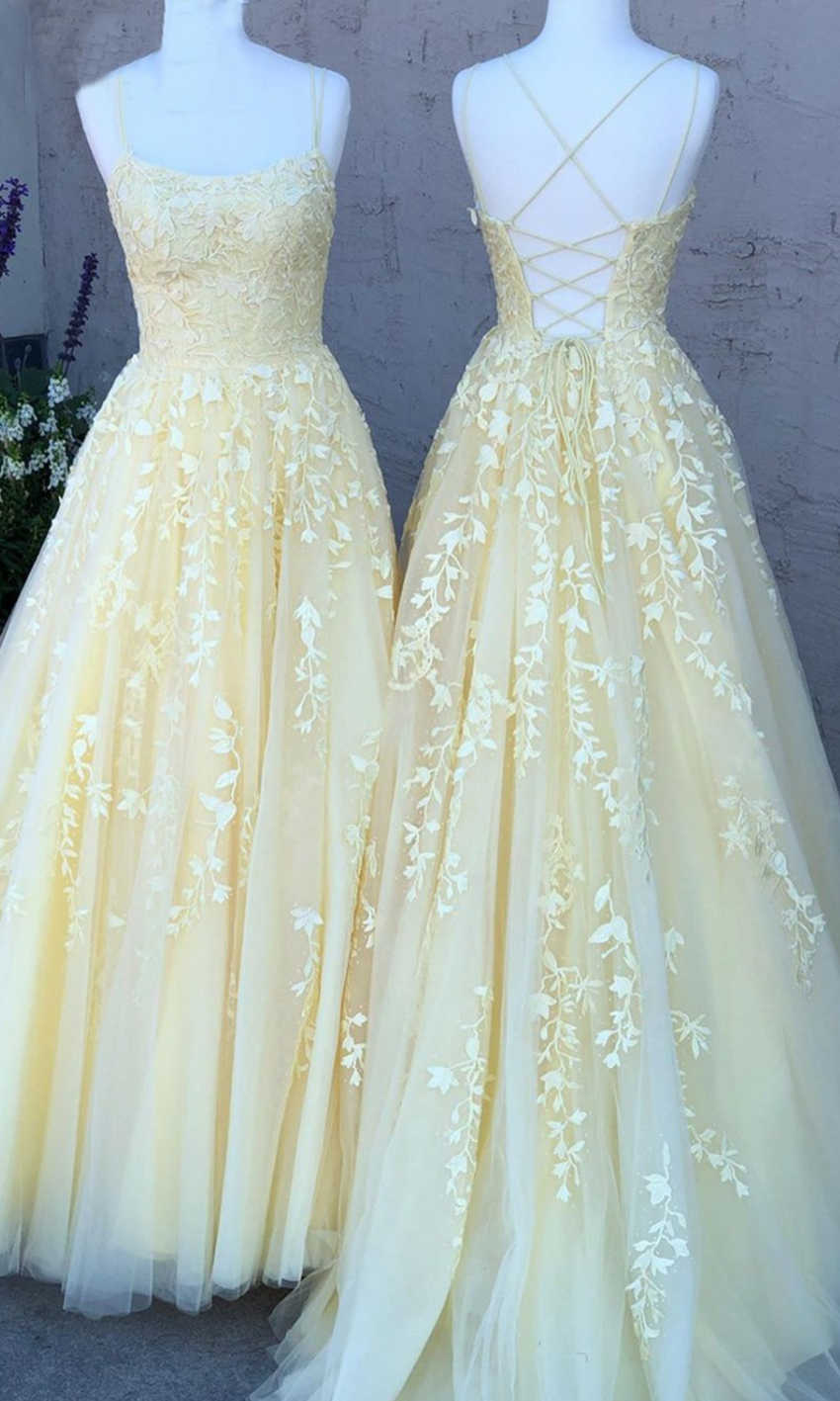 yellow prom dresses string back
