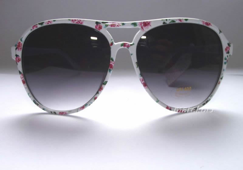 Okulary ATMOSPHERE przeciwsłoneczne białe kwiaty