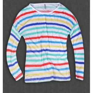 FISHBONE bluzka w PASKI kolorowa LUŹNA 34 (XS)