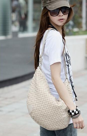 Biała, pleciona torebka damska. Japan style.